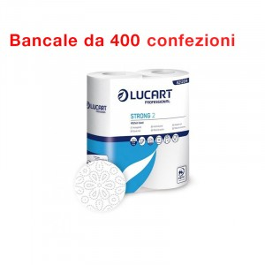 Bancale da 400 confezioni di 2 rotoli ciascuno carta Strong Lucart Asciugatutto